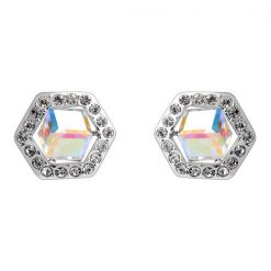 Six Sided Crystal Earrings - White