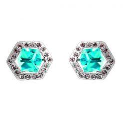 Six Sided Crystal Earrings - Blue