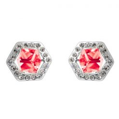 Six Sided Crystal Earrings - Pink
