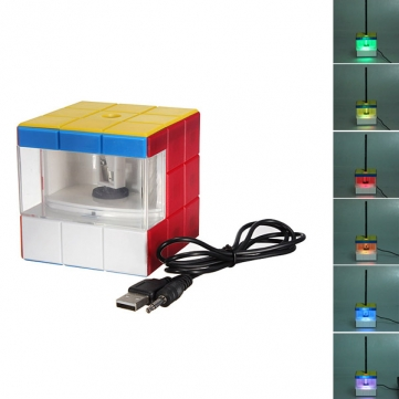 USB Electric Pencil Sharpener Led Colorful Magic Cube