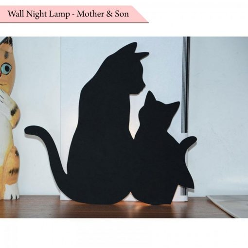 Wall Night Lamp Mother And Son Cat - Black