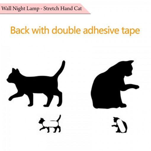 Wall Night Lamp Stretch Hand Cat - Black