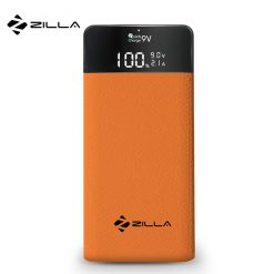 Zilla Leather Finish 10,000 mah Powerbank With Detailed LCD Display- Orange