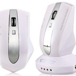 Wireless Rechargeable Optical Mouse with 3-Port USB HUB (White)