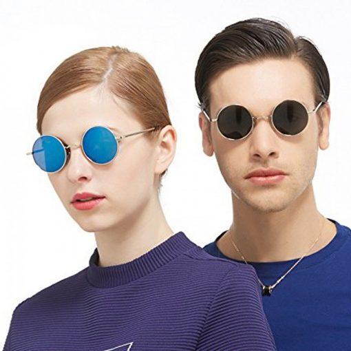 Steampunk Retro Style Round Sunglasses -  Blue