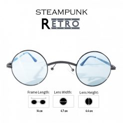 Steampunk Retro Style Round Sunglasses -  Black