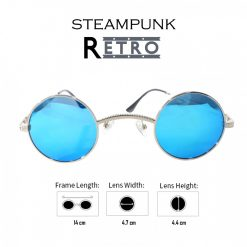 Steampunk Retro Style Round Sunglasses -  Blue