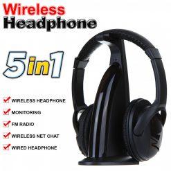 Wireless Headphone 5 In 1 Multifunction - Black