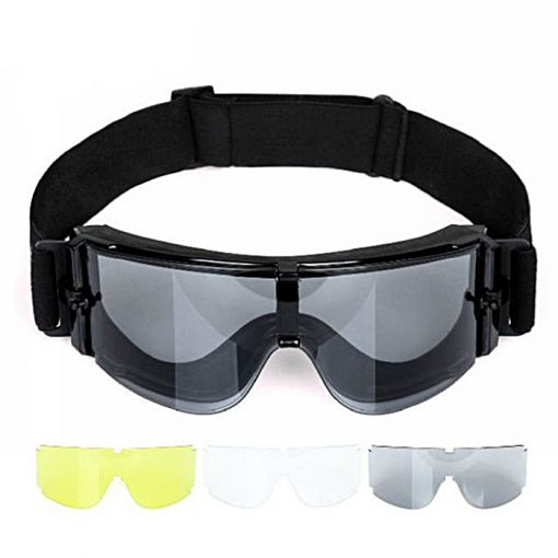 Tactical Goggle Army Protection Glasses With 3 Replaceable Lens - Black