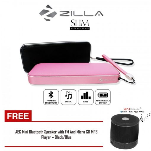 Zilla Card Shaped Leather Finish Bluetooth Speaker 10W Super Bass  Pink and Black with free AEC Mini Bluetooth Speaker with FM And Micro SD MP3 Player Black/Blue