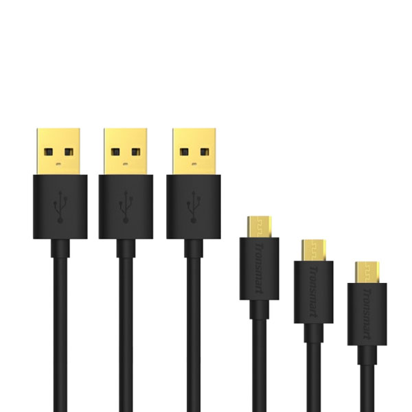 Tronsmart MUPP1 20AWG  3 Pcs 1 Meter Gold Plated Male USB to Micro USB Cable - Black