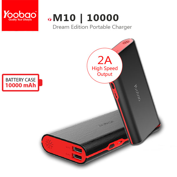 10000mAh Yoobao Master Power Bank With Dual USB Port - Black/Red