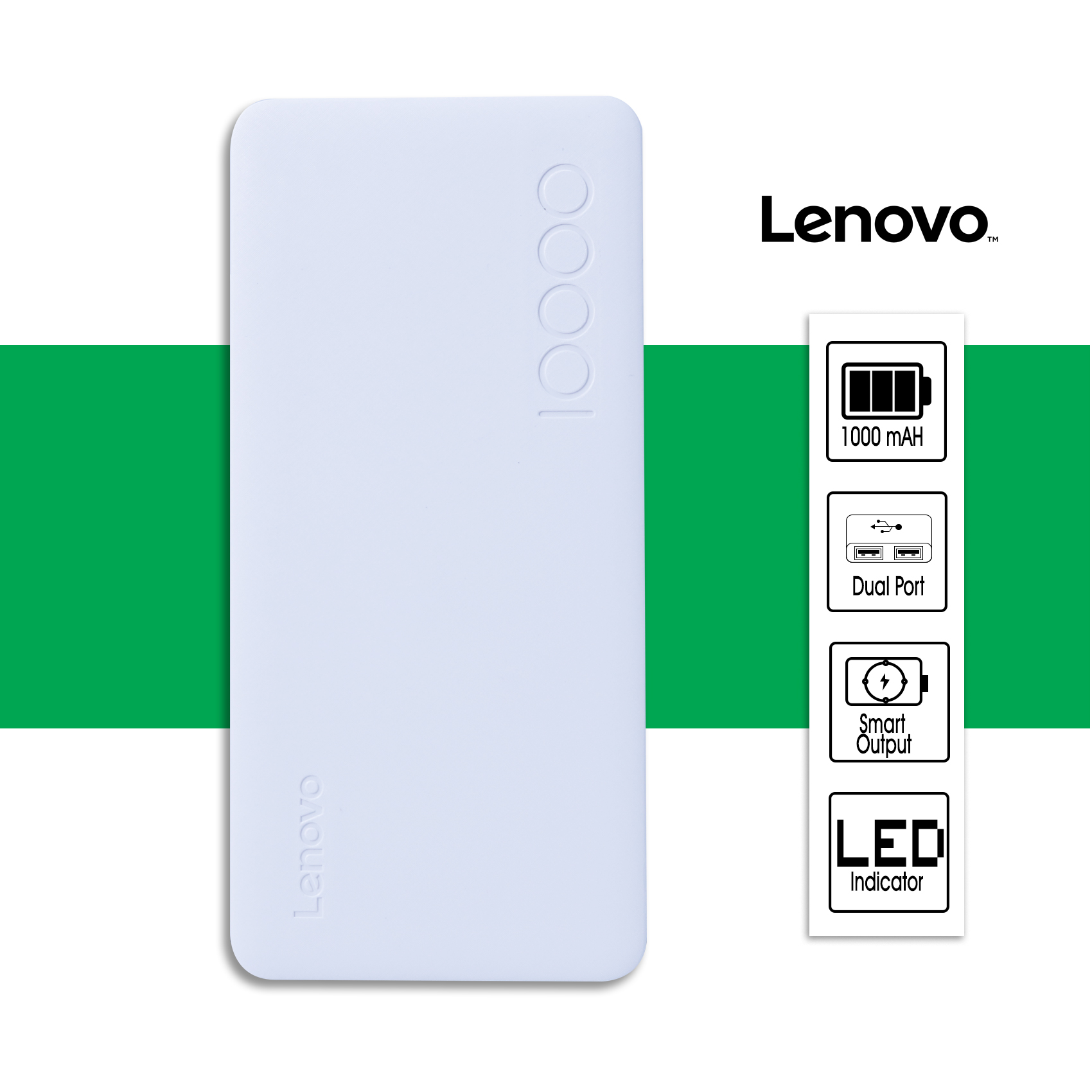 Lenovo  HB10 10000 mAh Dual USB Port Powerbank - White