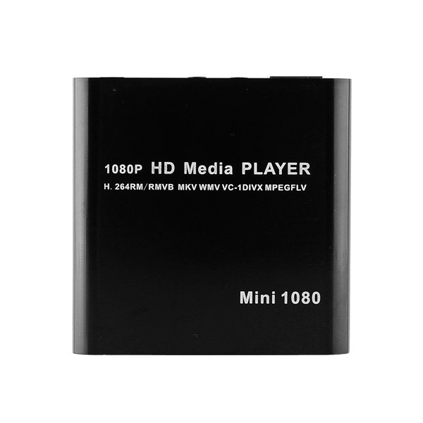 1080P Mini Media Player Full HD with USB SD Card Reader - Black
