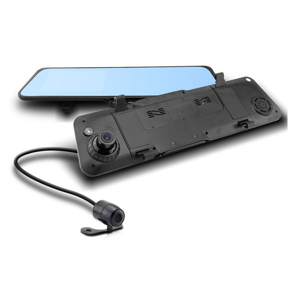 1080P Rearview Mirror Car DVR Camera Recorder with Dual Camera - Blue