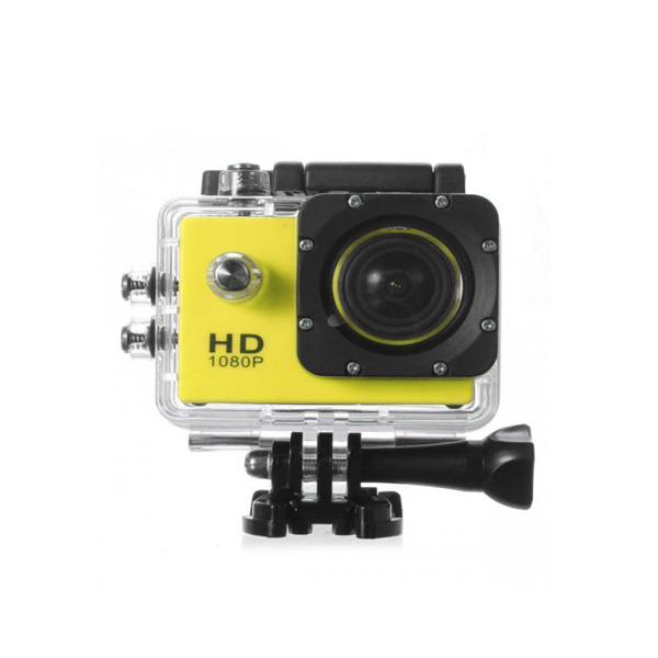 5MP Camera 1080P Video Camera Waterproof Sports Camera with 1.5 Inch LCD Monitor - Yellow