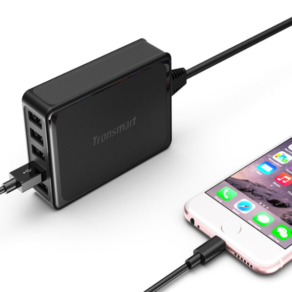 Tronsmart U5PTA 54W Five Port 1 USB Quick Charge 3.0 And 4 USB 2.4A Charger - Black