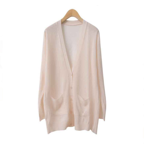 Cardigans Thin Knitted V-Neck Long Sleeve  - Creme