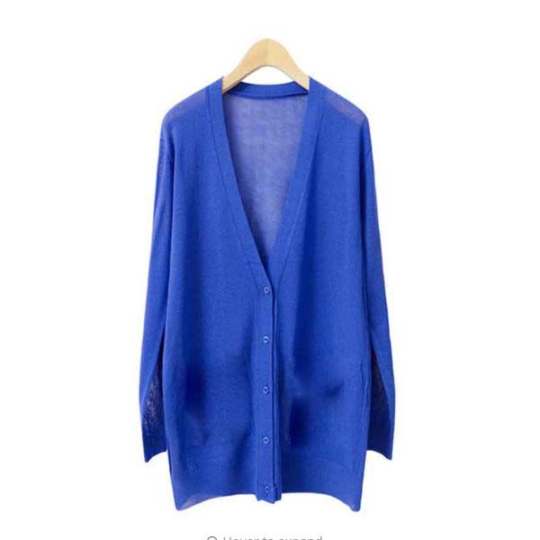 Cardigans Thin Knitted V-Neck Long Sleeve  - Dark Blue