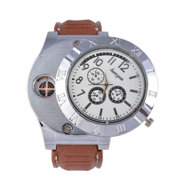 Rechargeable Watch With Cigarette Lighter - Brown
