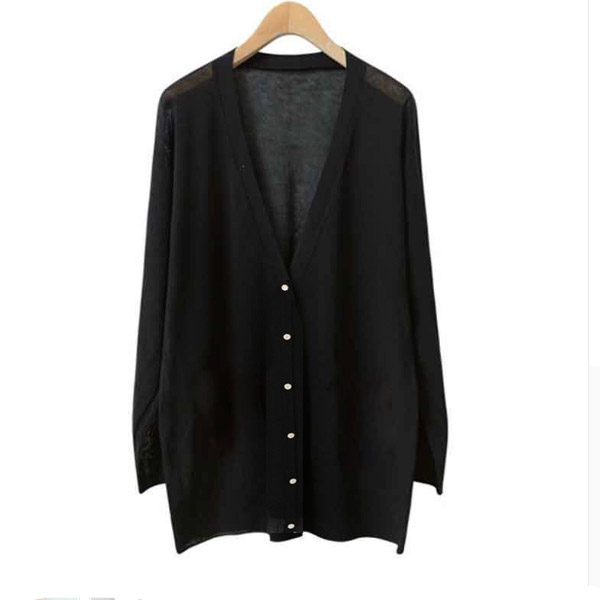 Cardigans Thin Knitted V-Neck Long Sleeve  - Black
