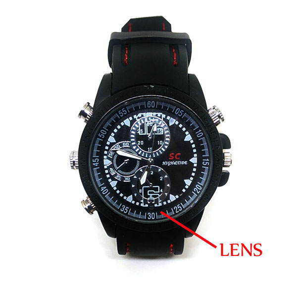 8 Gb Water Resistant Watch With Camera - Black/White