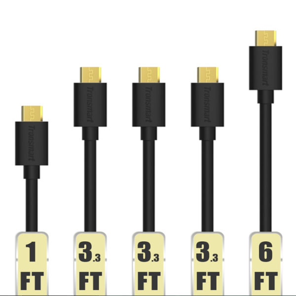 Tronsmart MUPP6 20AWG  5 Pcs Gold Plated Male USB to Micro USB Cable - Black