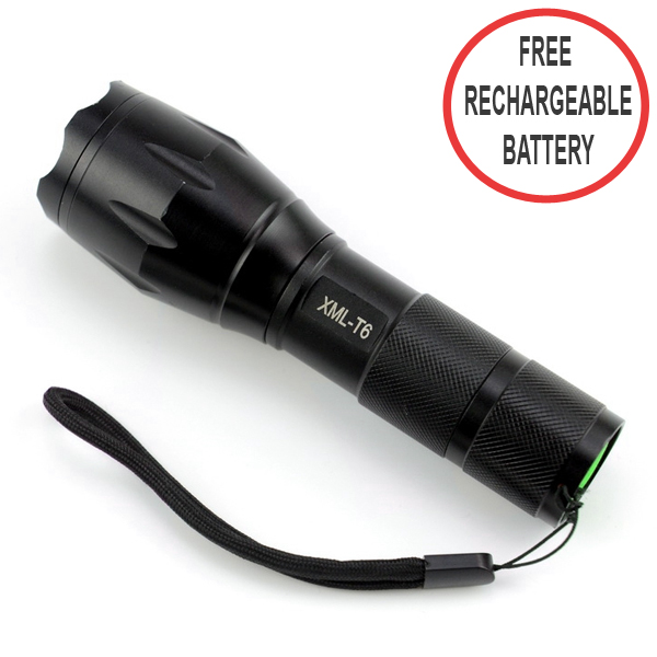 1000 Lumens Super Bright 300 Meters LED Flashlight With Free Rechargeable Battery - Black