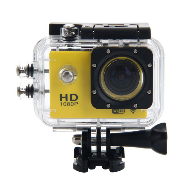 12 MP Photo Resolution 5MP Image Sensor  WIFI Action Camera with 1.5 inch LCD Monitor - Yellow