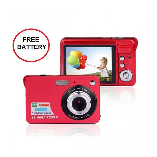 18 Mega Pixels Anti-Shake Digital Camera Lens - Red