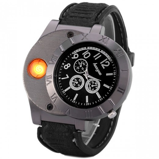 Rechargeable Watch With Cigarette Lighter - Black
