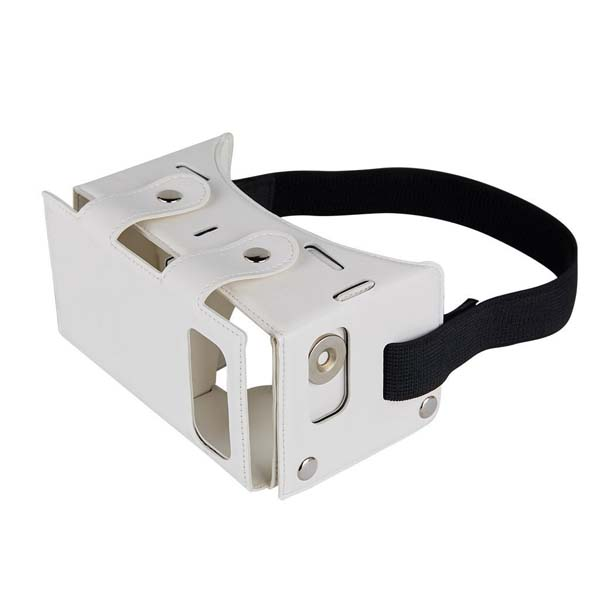 Leather DIY VR Box Virtual Reality 3D Glasses - White