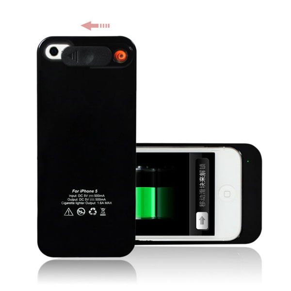 2 In 1 1800mAh Emergency Battery Pack with Cigarette Lighter for iPhone5 - Black