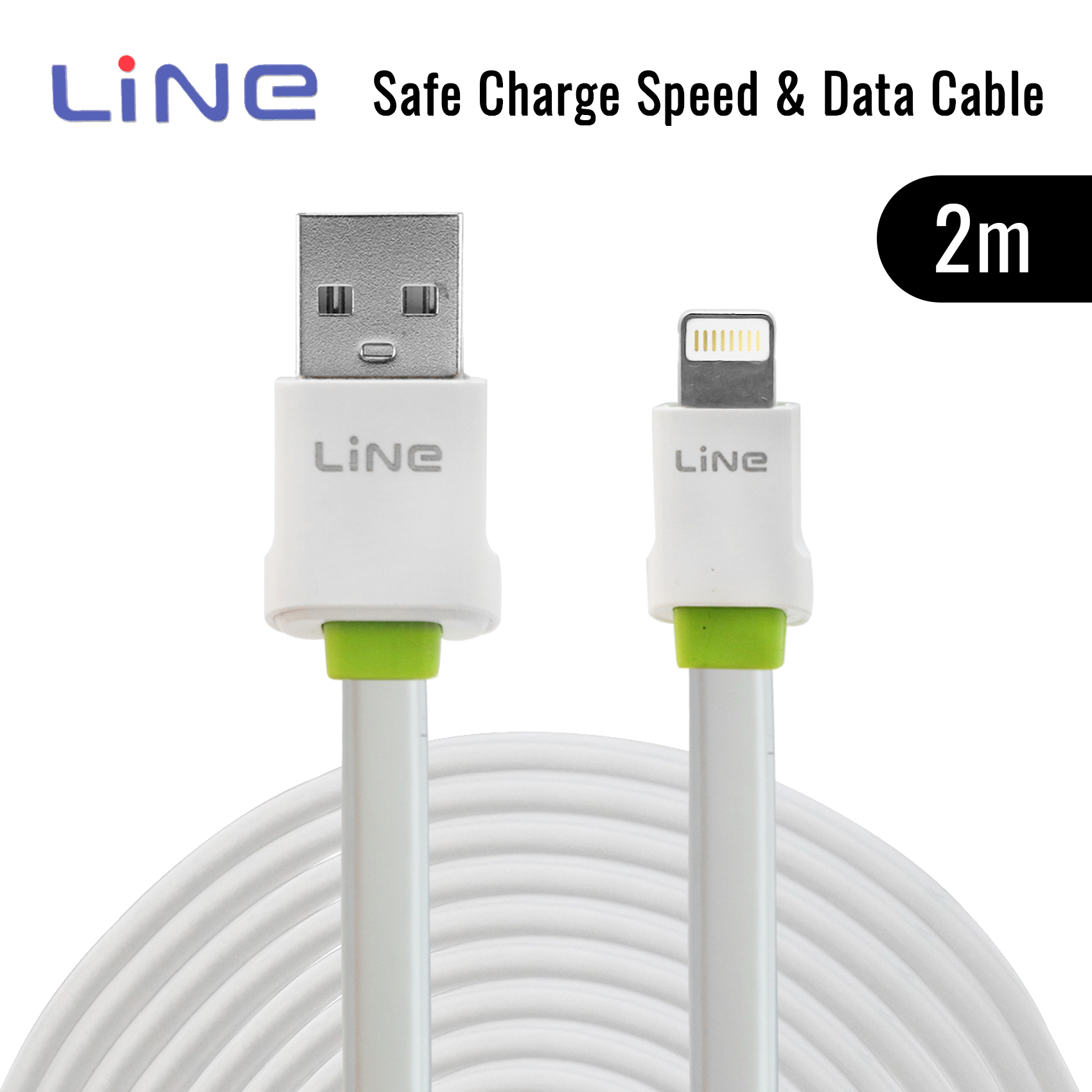 2 Meters Lightning Safe Charge Speed and Data Cable - Green