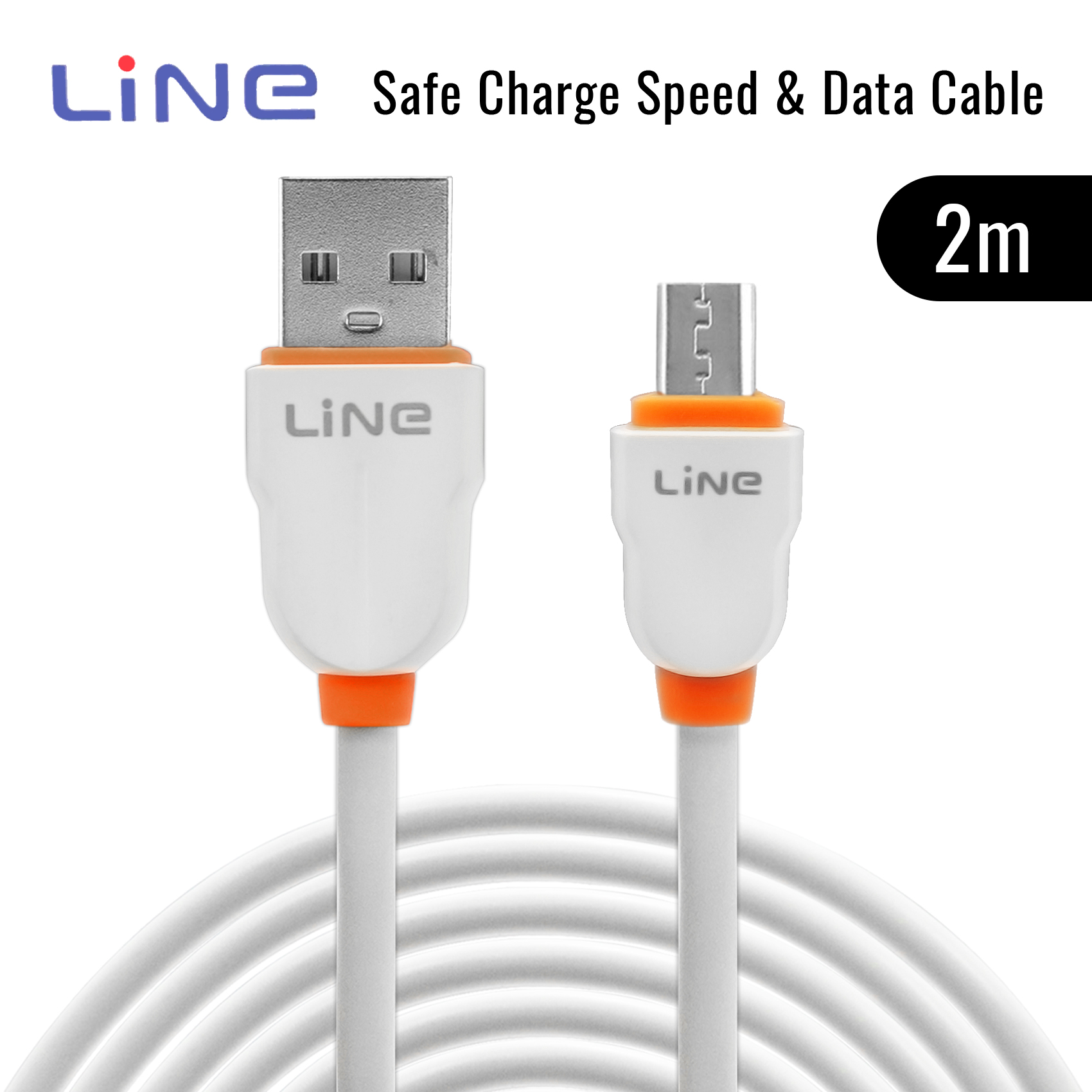 2 Meters Micro Safe Charge Speed and Data Cable - Orange