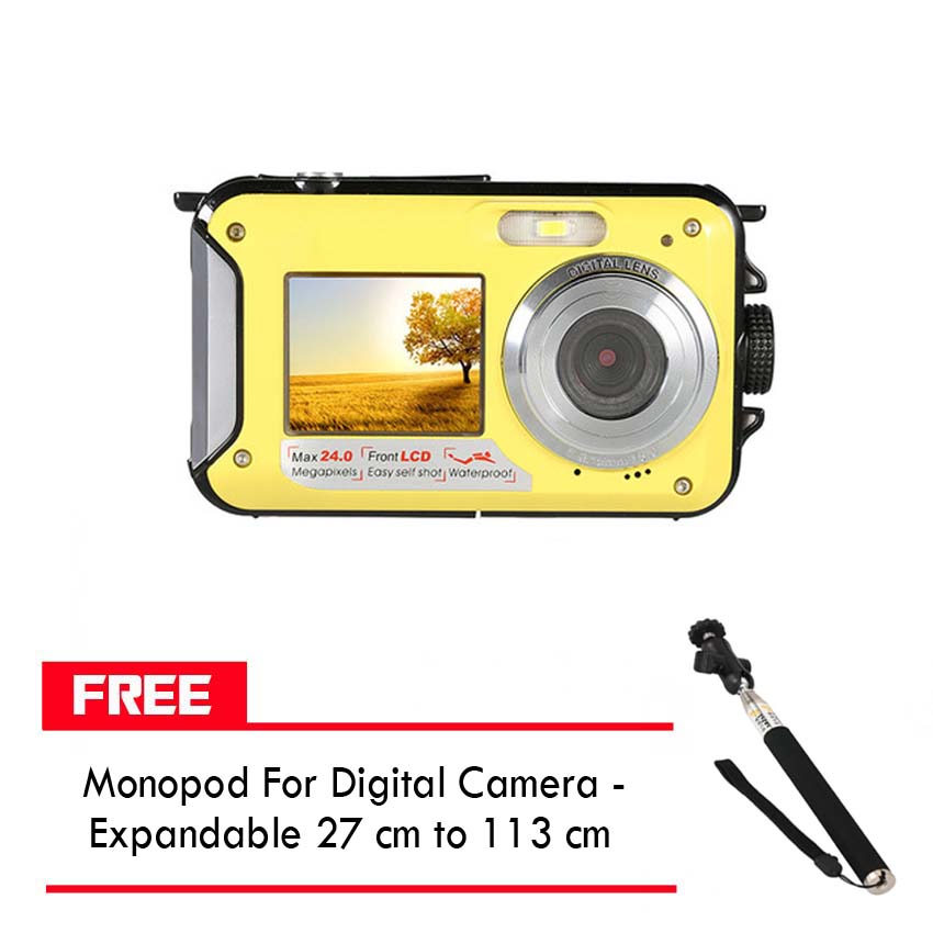 24MP16x Zoom Waterproof Digital Video Camera With Front And Back LCD Screen For Selfie And FREE Monopod For Digital Camera - Expandable 27 cm to 113 cm