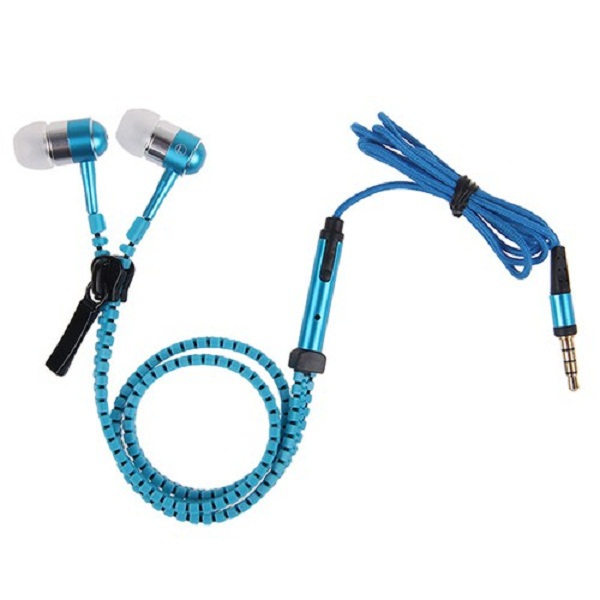 3.5mm Tangle Free Zipper Type Earphone With Mic  - Blue