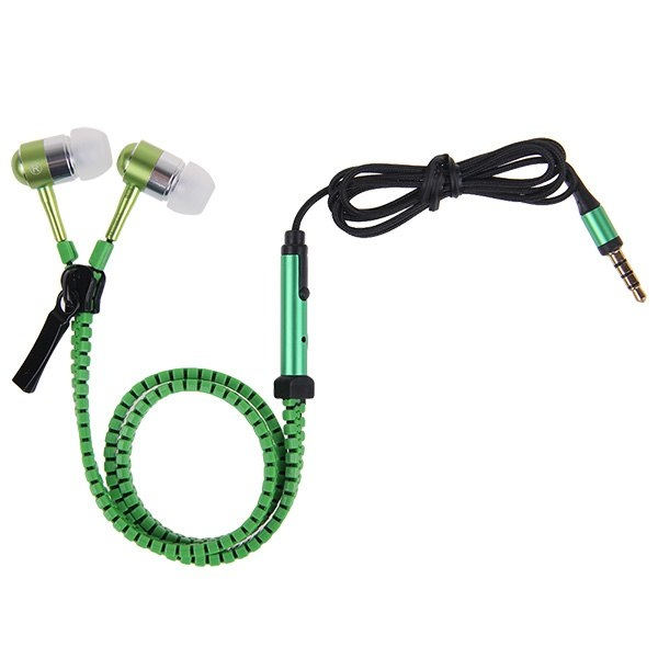 3.5mm Tangle Free Zipper Type Earphone With Mic - Green