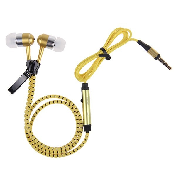 3.5mm Tangle Free Zipper Type Earphone With Mic - Yellow