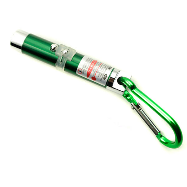 3 in 1 Led Flashlight Torch Keychain Red Laser Pointer - Green