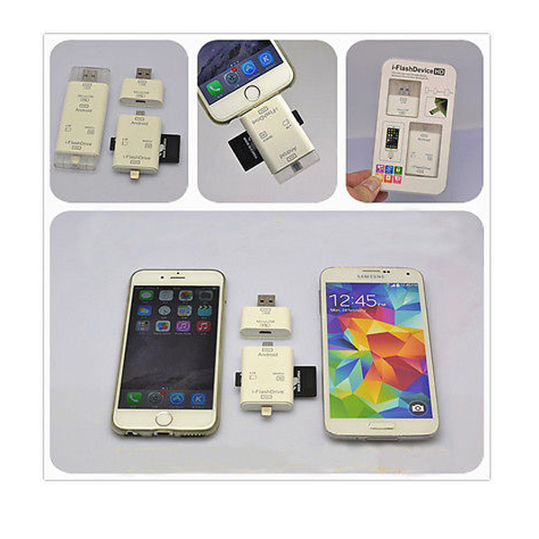I-Flash Drive HD 3 in 1 Storage Device For Smart Phones - White