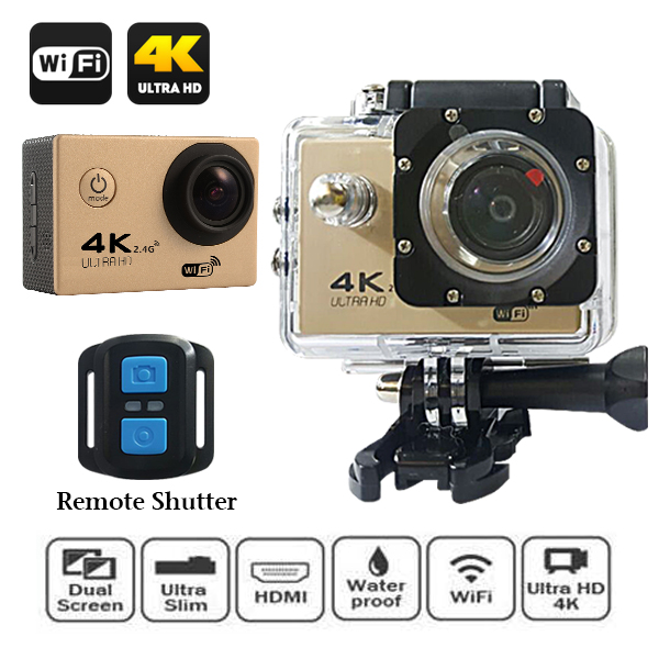 4K Ultra HD 16MP 2 Inch LCD Viewer Action Wifi Camera With Waterproof Remote Shutter - Gold