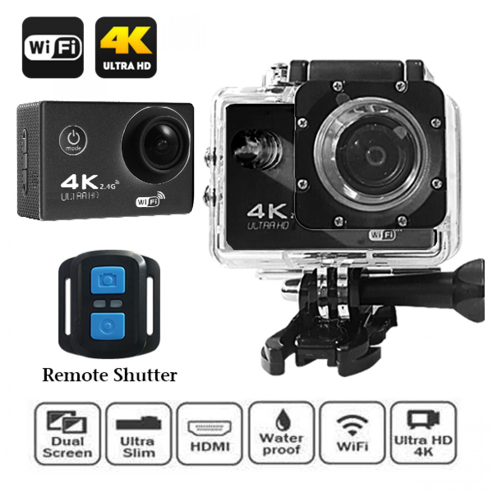 4K Ultra HD 16MP 2 Inch LCD Viewer Action Wifi Camera With Waterproof Remote Shutter - Black