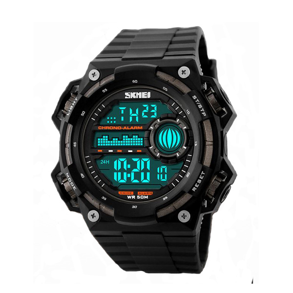 50M Depth Waterproof Sport Digital Winder Watch - Black/Brown