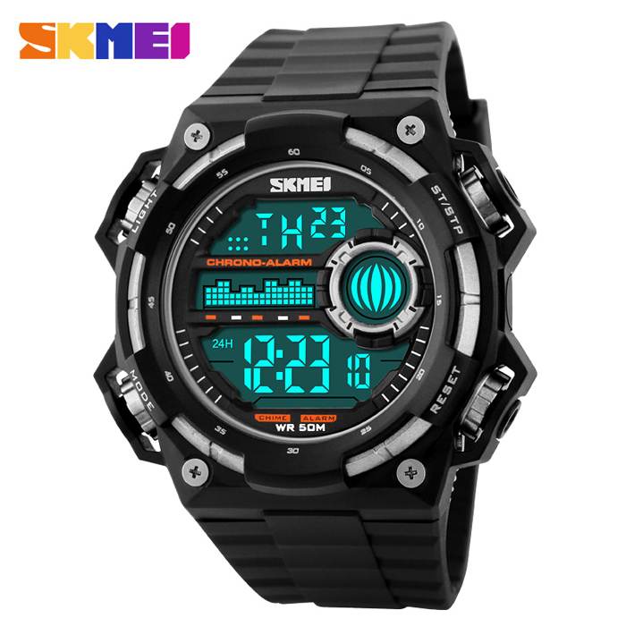 50M Depth Waterproof Sport Digital Winder Watch - Black/Silver