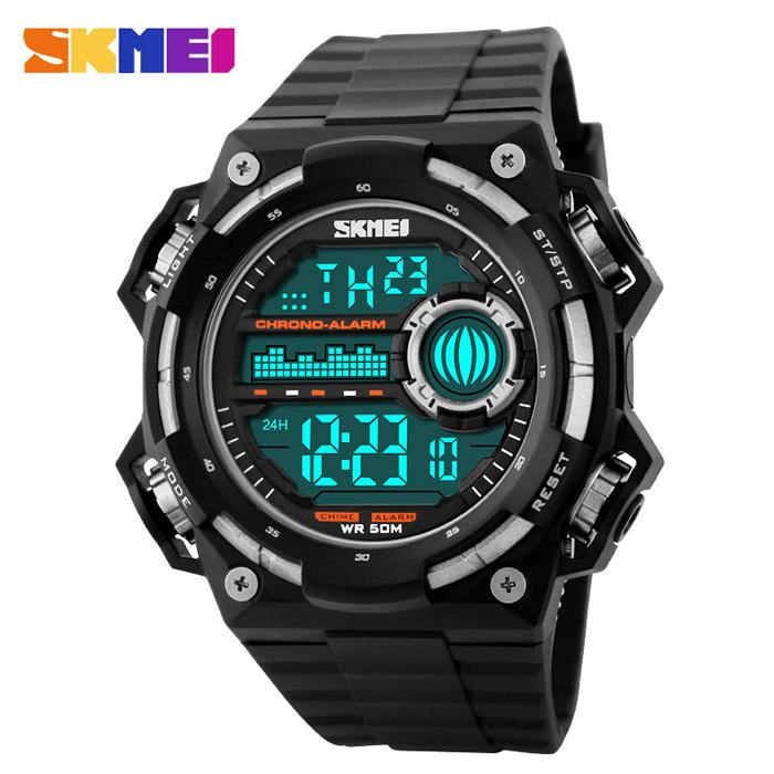 50M Depth Waterproof Sport Digital Winder Watch - Black/Silver