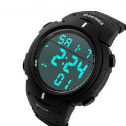 50M Waterproof Big Display Digital Watch - Black