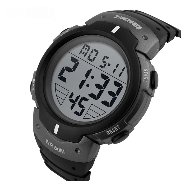 50M Waterproof Big Display Digital Watch - Black/Silver