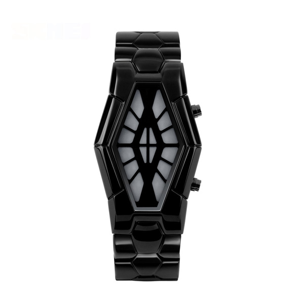 50M LED Blue and Red Light Metal Watch - Black
