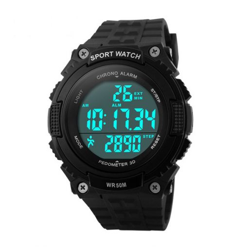 50M Water Resistant Pedometer Sport Watch - Black